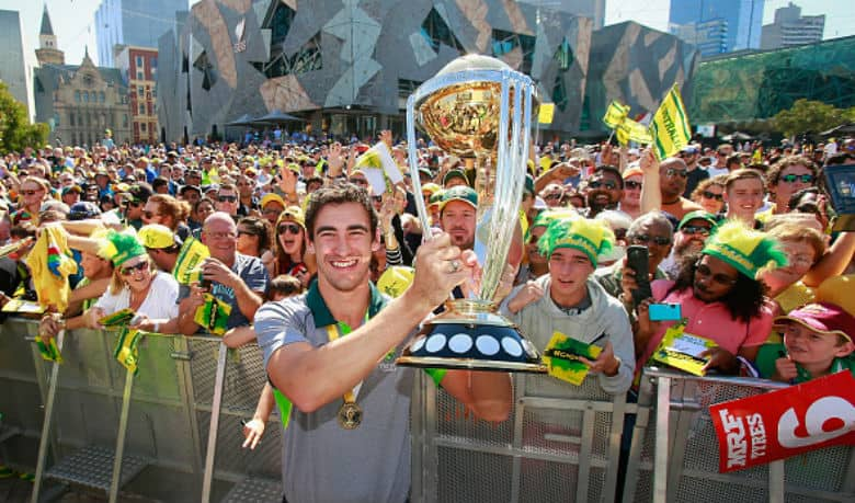 Player-of-the-Tournament Mitchell Starc with the ICC Cricket World Cup 2015 Trophy. Image courtesy: Getty Images
