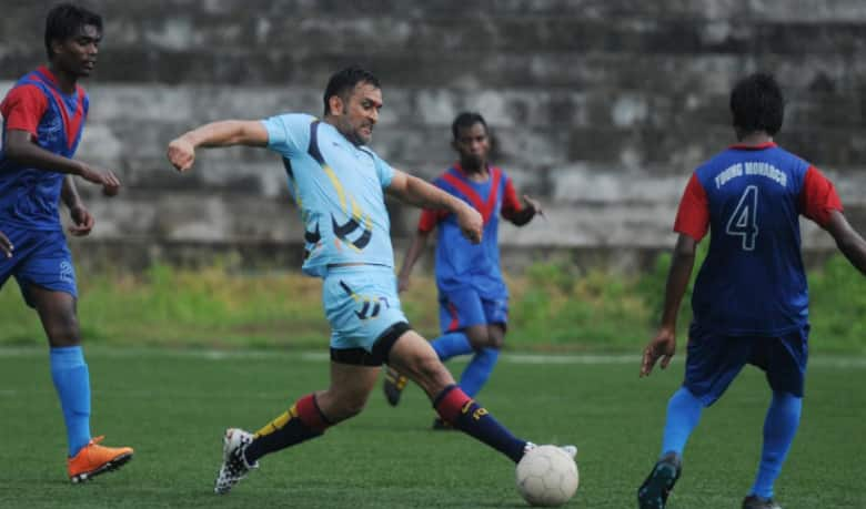 And now MS Dhoni shines in his 'soccer boots'