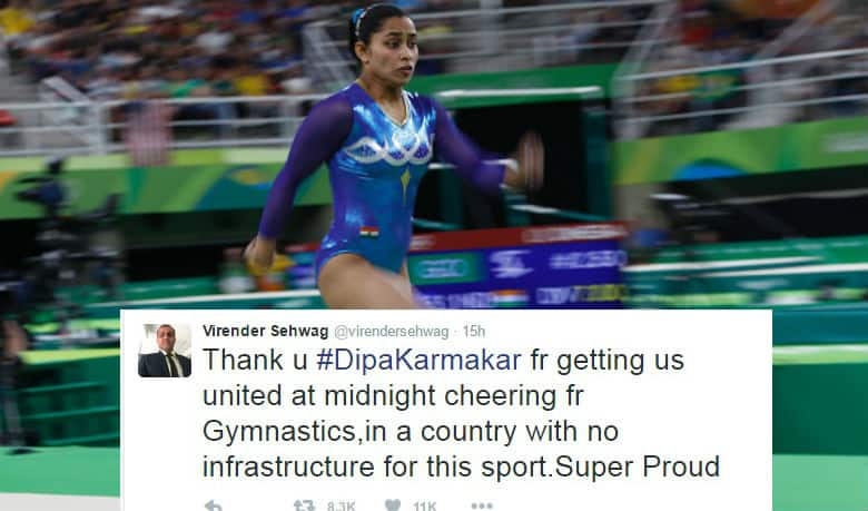 Sachin Tendulkar, Virender Sehwag and other cricketers appreciate Dipa Karmakar's effort in Rio Olympics 2016
