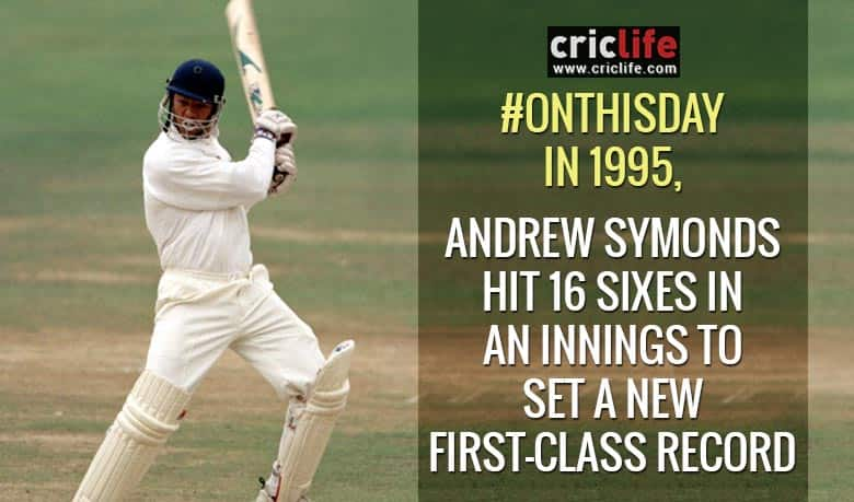Andrew Symonds hits 16 sixes to set First-Class record