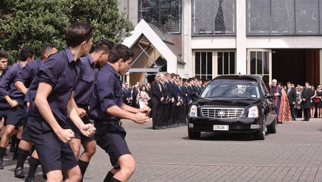 Students of Auckland Grammar perform Hogan's haka to honour Martin Crowe as his casket was led away at his funeral © Getty Images