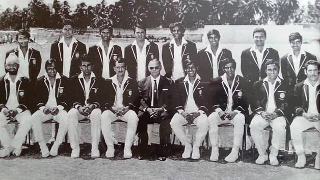Indian cricket team to West Indies, 1971. Photo courtesy: H Natarajan. Standing, from left: Sunil Gavaskar, Rusi Jeejeebhoy, Pochiah Krishnamurthy, Ashok Mankad, Devraj Govindraj, Eknath Solkar, Kenia Jayantilal, Gundappa Viswanath. Sitting, from left: Bishan Bedi, EAS Prasanna, Salim Durani, Ajit Wadekar (c), Keki Tarapore (manager), Srinivas Venkataraghavan, ML Jaisimha, Abid Ali.