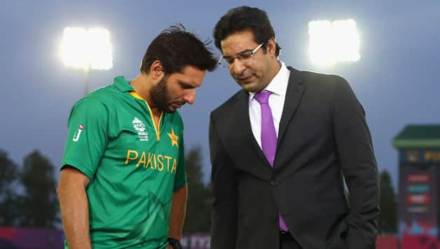 Ahmed Shehzad has picked legendary fast bowler Wasim Akram (right) as his all-time favourite cricketer and former T20 skipper Shahid Afridi as his favourite all-rounder © Getty Images