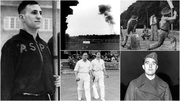 Clockwise, from left: Len Hutton on parade at Army School of Physical Training; a doodlebug lands close to Lord's during a cricket match; Australian troops playing cricket; Denis Compton, a gunner in the army; Cec Pepper and Keith Miller walking out to bat in the Victory Test at Lord's, 1945 © Getty Images