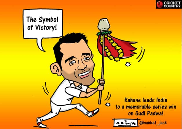 Ajinkya Rahane captained India to victory in the final Australia Test. Cartoon courtesy: Sanket Jack.