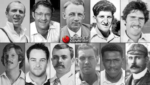 Top row, from left to right: Geoff Boycott, Eddie Barlow, Don Bardman, Ken Barrington, Allan Border. Bottom row, from left to right: Ian Botham, Mark Boucher (wk), Johnny Briggs, Alec Bedser, Ian Bishop, Syd Barnes © Getty Images