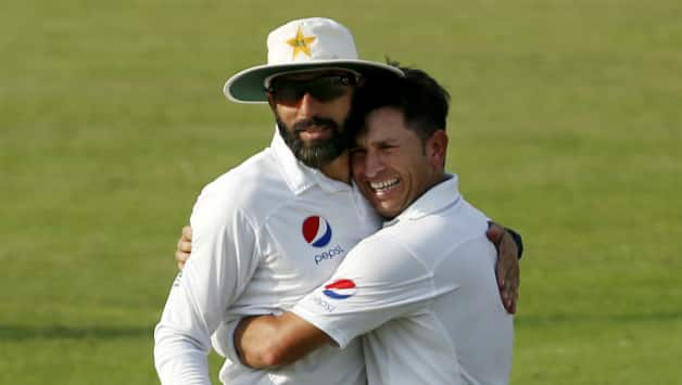 Yasir Shah (right) is clearly Pakistan's weapon of choice in the longer version of the game © AFP