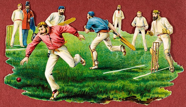 A vintage chromolithograph of a village cricket match, circa 1880. In Victorian Britain the keeping of scrapbooks was a popular pastime and these colourful illustrations were known as 'scraps'. They were intended to be cut out and pasted into the family album or scrapbook. Cricket was forever a mix of colours and white. The one thing cricket did not stand for as it evolved through the ages was stubborn obstinacy against change © Getty Images