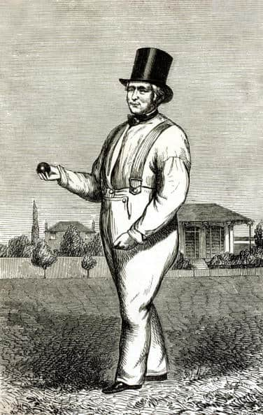 William Lilywhite, the greatest bowler of his times, in full cricket gear in the 1830s © Getty Images