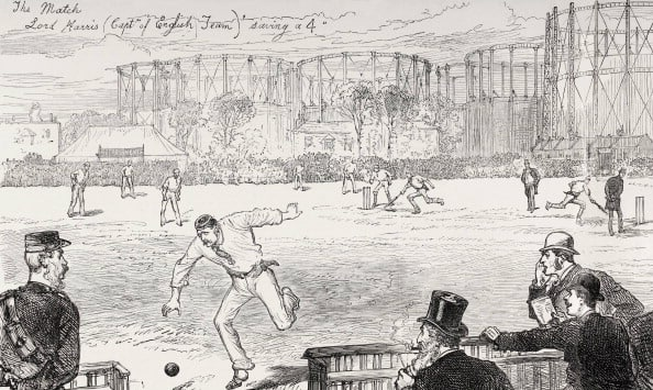 The first Test on English soil, as published in The Illustrated News. Lord Harris is seen chasing the ball © Getty Images