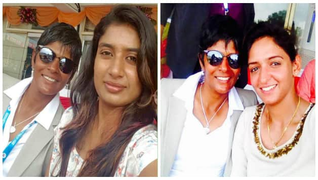 Mamatha with past and present of India Women's cricket Photo Courtesy: Mamatha Maben's Facebook Page