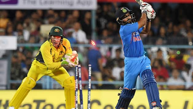 Zampa outfoxed Dhoni with a leg-spinner, and knocked over Kedar Jadhav with a wrong' un. He finished with figures of 2 for 19. © AFP