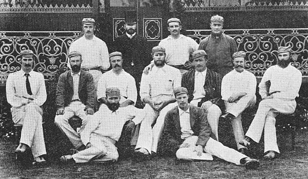 The Australian team in England, 1884. Photo courtesy: Wikimedia Commons Back, from left: Percy McDonnell, George Alexander (manager), George Giffen, George Palmer. Middle, from left: Fred Spofforth, Jack Blackham, Billy Murdoch, George Bonnor, Billy Midwinter, Alec Bannerman, Harry Boyle. Front, from left: William Cooper, Tup Scott © Wikimedia Commons