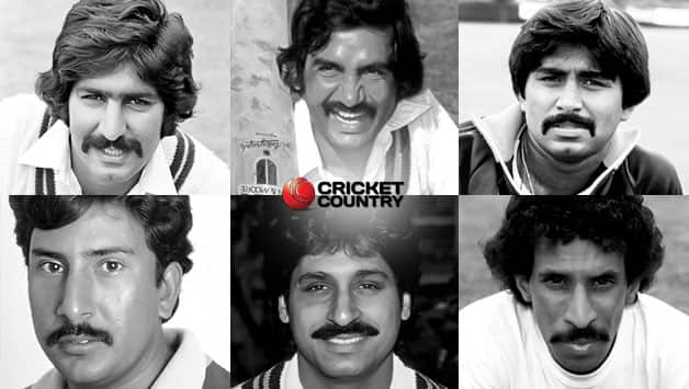 Sarfraz Nawaz, Sadiq Mohammad, Javed Miandad, Saleem Malik, Rameez Raja, and Tauseef Ahmed © Getty Images