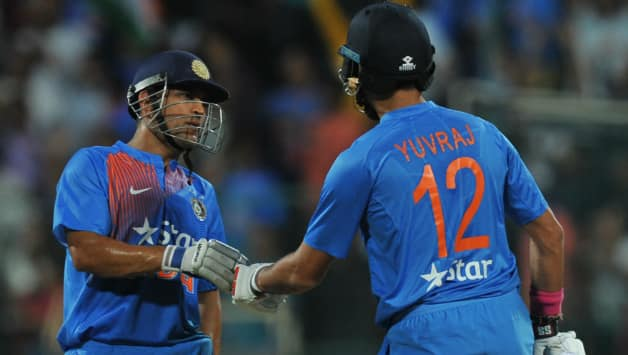 MS Dhoni and Yuvraj Singh rolled back the days © AFP