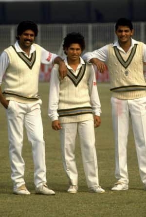 From left: Kapil Dev, Man of the Match; Sachin Tendulkar, the debutant; and Mohammad Azharuddin, a desperate man with a last chance © Getty Images (file photo)