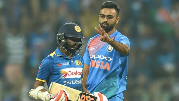 Jaydev Unadkat began the slide. He got the wicket of Nirsohan Dickwella in the 2nd over of the match. He finished with figures of 4-0-15-2. He was awarded the Man of the Match and also the Man of the series. His economy rate in the series reads 4.88 (Image courtesy: AFP)