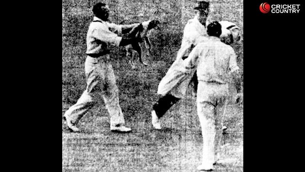 Sid Barnes chasing Alec Skelding with the dog. Courtesy: Western Mail (Perth)