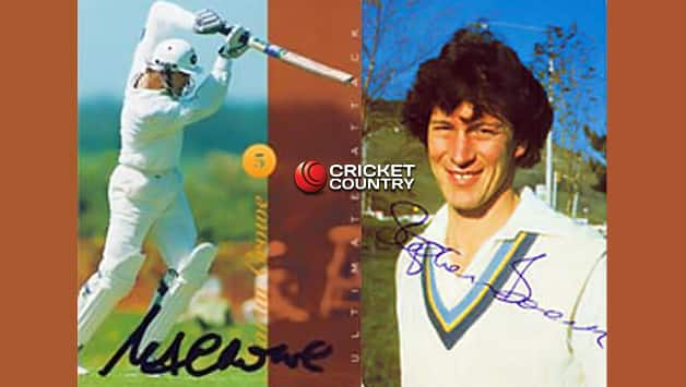 Trading cards for Martin Crowe (left) and Stephen Boock (courtesy: Nazim's Cricket Page)