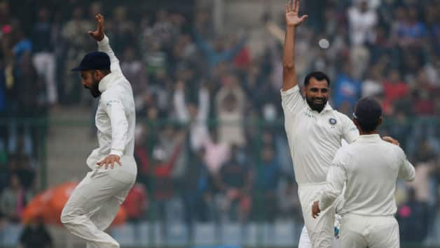 Mohammed Shami picked Sri Lanka's wicket on the first-ball of his spell © AFP