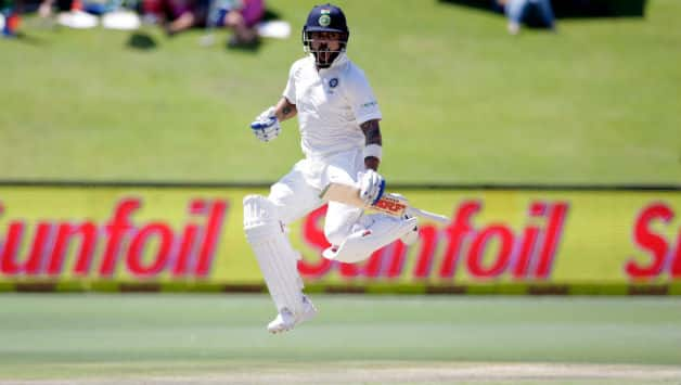 Virat Kohli jumps in delight to celebrate his 21st Test ton © AFP