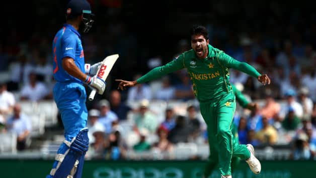 Mohammad Aamer dismissed Virat Kohli for 5 in the tournament final. He went on to dismiss the top 3 Indian batters (Image courtesy: Getty)