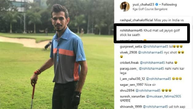 Rohit pulls Chahal's leg. Picture courtesy: Yuzvendra Chahal's instagram account