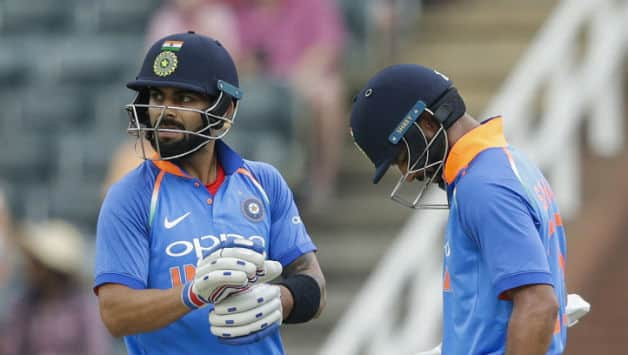 Virat Kohli and Shikhar Dhawan added their eight 100 runs stand in ODIs; fourth against South Africa © AFP