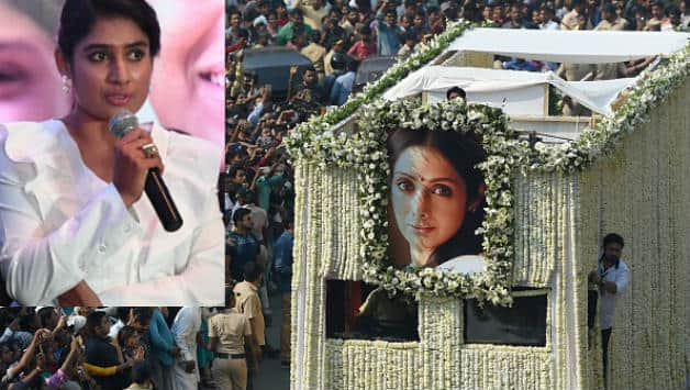 The funeral cortege of the late Sridevi Kapoor passes through Mumbai streets. Inset picture of Mithali Raj © AFP
