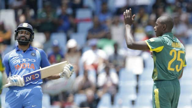 Kagiso Rabada celebrates Rohit Sharma's wicket as India started their chase of 119 © Getty Images