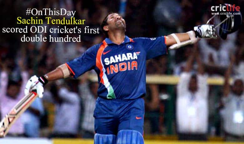 On this day, Sachin Tendulkar registered maiden ODI  double century