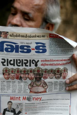 An Indian daily depicts Mike Procter among villains after the Sydney Test © AFP