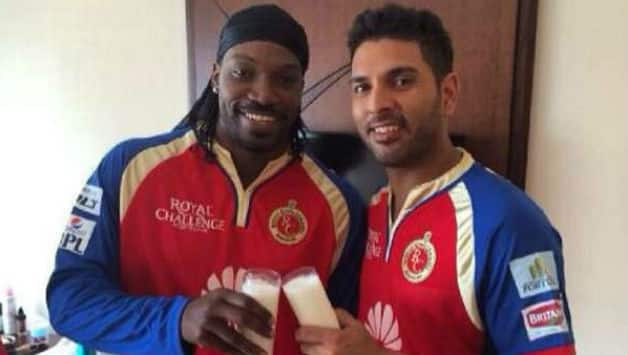 Chris Gayle (L) and Yuvraj Singh. Image courtesy: Twitter