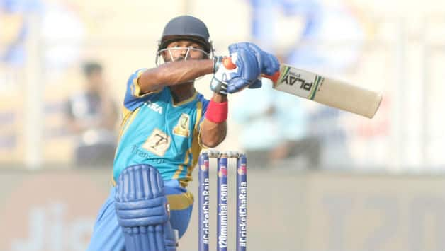 Sumit Ghadigaonkar from Triumph Knights Mumbai North East played a cameo of 41*(13) in match 12 of the T20 Mumbai League today © Press Release T20 Mumbai League