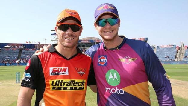 David Warner (Left) and Steven Smith in IPL 2017 © BCCI