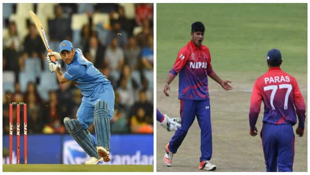 MS Dhoni and Nepal teammates © AFP