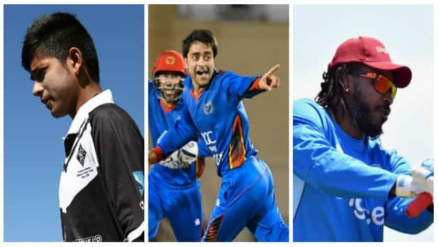 Sandeep Lamichhane, Rashid Khan and Chris Gayle © Getty Images