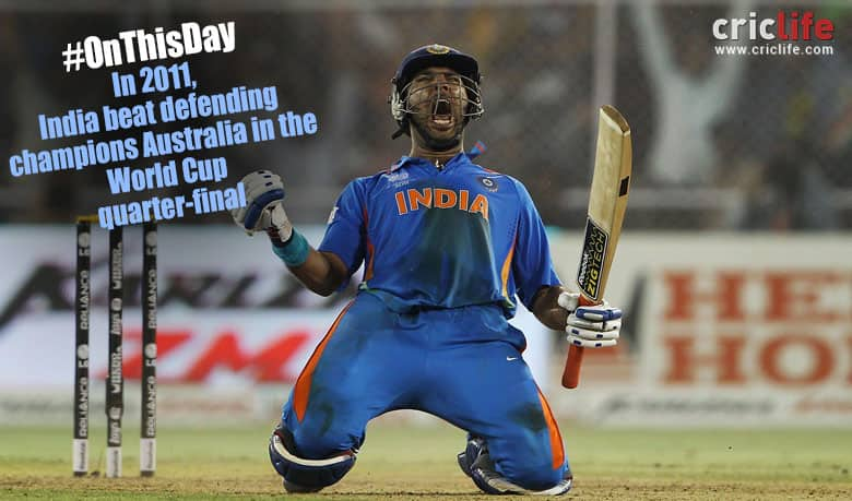 Yuvraj Singh lets out a cry after guiding India to 2011 World Cup semi-final (Image courtesy: AFP)