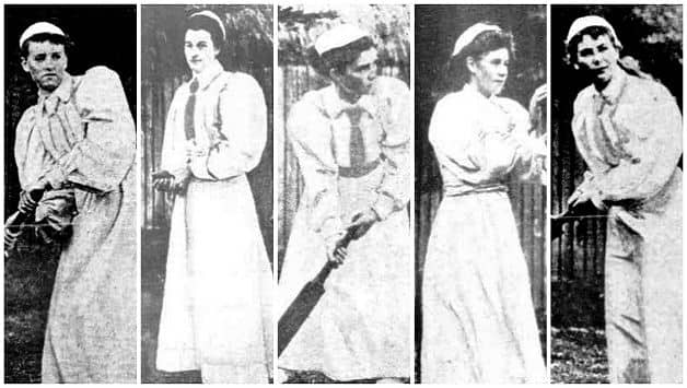 A few Forget-me-nots cricketers (courtesy: The Australasian). From left: Nellie Falahey, Mary Kinnear, FV Billson (captain), Mary O'Brien, Ruby Gazzard (Hon. Secretary and Treasurer)