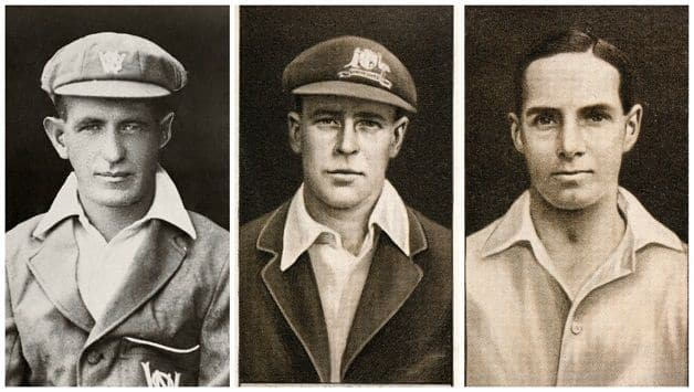 From left: Cigarette cards of Herbie Collins, Bill Ponsford, Herbert Sutcliffe © Getty Images