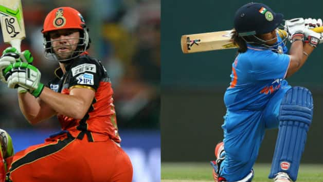 AB de Villiers (L) and Veda Krishnamurthy (Image courtesy: AFP/Getty Images).