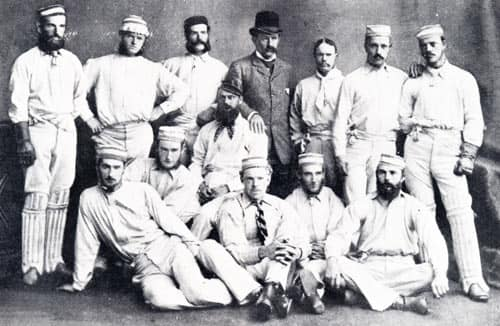 The 1878 Australians in England (courtesy: Wikimedia Commons) Back, from left: Jack Blackham, Tom Horan, George Bailey, Dave Gregory, John Conway (manager), Alec Bannerman, Charles Bannerman, Billy Murdoch Front, from left: Fred Spofforth, Francis Allan, William Midwinter, Tom Garrett, Henry Boyle