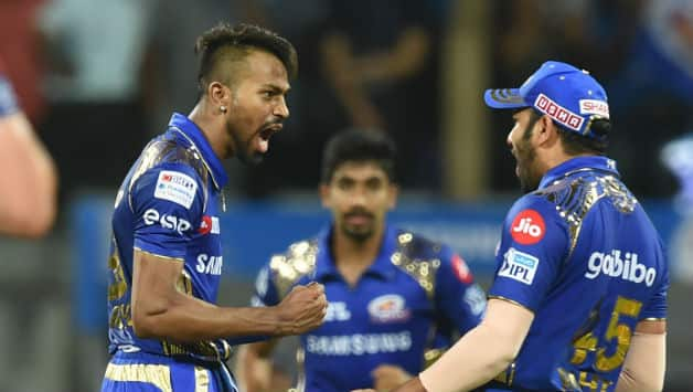 Hardik Pandya picked two wickets early-on to stop Chennai's flow of runs © AFP