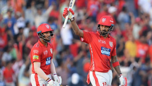 KL Rahul provided a blazing start to Punjab with his fastest fifty and moved past Sunil Narine and Yusuf Pathan. Rahul was duly awarded Man of the Match © AFP