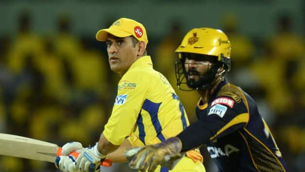 MS Dhoni added 54 with Sam Billings before falling for 25 © AFP