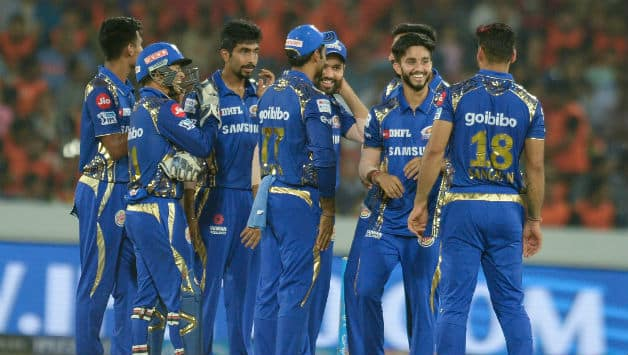 Mayank Markande (second from right) has 7* wickets from two games in IPL 2018 © AFP