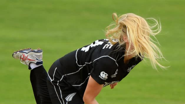 New Zealand bowler Hannah Rowe in action during the ICC Womens World Cup 2017  © Getty Images