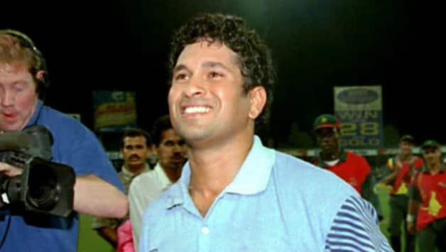 Sachin Tendulkar played a brilliant knock of 134 in the finals to win it for India © AFP