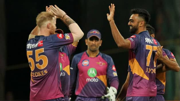 Ben Stokes (L) and Jaydev Unadkat from IPL 2017 © BCCI