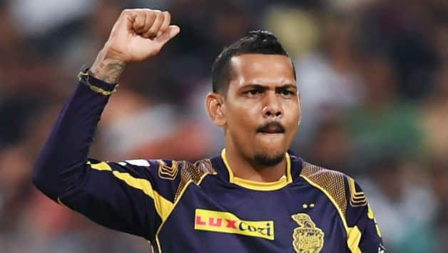 Sunil Narine brought KKR back in the match picking Wriddhiman Saha and Shikhar Dhawan's wickets © AFP